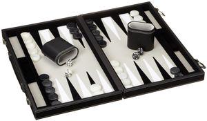 Philos 1731 - Backgammon Filzinlet grau-weiß-schwarz, medium, Koffer Kunstleder 4014156017313