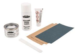 Cramer Reparatur-Set für Keramik, Email & Acryl, Alpin-Weiß, CRA16080DE, bei Abplatzungen & Kratzern, Set: 2-Komponenten-Spachtelmasse, Härter, Reparaturlack, Spachtel, Schleifmittel, 83961 7