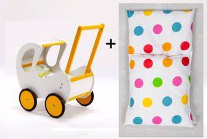 Hochwertiger Holz Puppenwagen / Lauflernwagen mit Dach inkl. Bettset, Farbe:Gelb