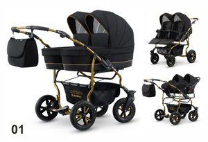 Polbaby Mikado Zwillingswagen Twin Goldstar 3in1- Set Wanne Buggy Babyschale 01