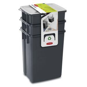 CURVER Abfalleimer Set Abfalltrennungsset  Sortieren Mülleimer 2x10L + 6L Küchen-Mülleimer Mülleimer Mülltrennsystem Tragegriff Deckel inkl. Halterung