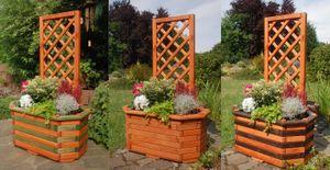 Pflanzkasten, Blumenkasten, Blumenkübel aus massivem Holz mit schön gearbeiteter Pergola, für den Garten, Farbe:Braun