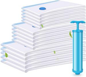 VADOOLL 15 Stück 3 Größen Vakuumbeutel Aufbewahrungsbeutel, Reise Vakuum Kompressionsbeutel, Vakuumbeutel Kleiderbeutel für Kleidung Bettdecken Bettwäsche Kissen mit Staubsauger Handpumpe