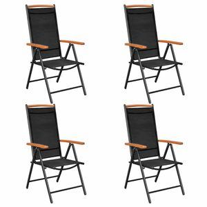 vidaXL Gartenstühle Klappbar 4 Stk. Aluminium und Textilene Schwarz