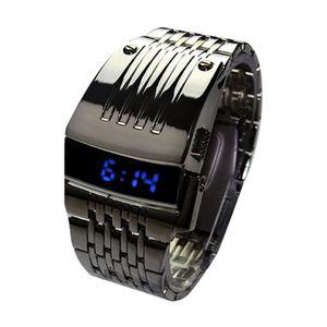 Blaue LED-Anzeige Männer digitale Armbanduhr schwarz
