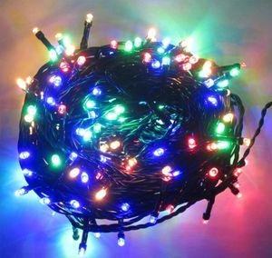 200 LED Lichterkette bunt 20m grünes Kabel für innen + aussen Netzteil Weihnachtsbeleuchtung Weihnachtsdeko Partydeko Partylichter