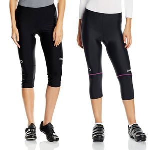 Gregster Damen Fahrradhose 3/4 - Radlerhose Damen in lang - bis Größe XL - dreiviertel Hose fürs Fahrrad gepolstert - Radsport - Sporthose in schwarz, Color:schwarz/beere, Size:L