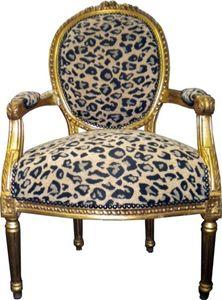 Barock Salon Stuhl Leopard Muster2 / Gold Mod2
