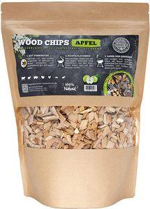 Räucherchips von JSM®   100% Natürliche Smoker-Holzchips für besondere Rauch- und Geschmackserlebnisse   Für alle Grills geeignet   Extra große Packung - 1 kg (Apfel)