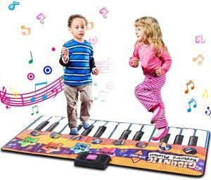 Goplus Klaviermatte Musikmatte Musikteppich Kinder Keyboard Spielmatte 24 Tasten mit 8 Instrumenten 180x74cm
