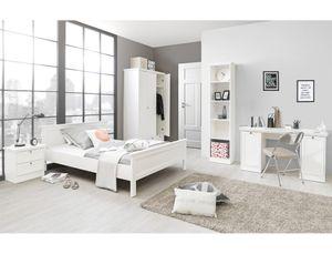 Jugendzimmer Landström 171 weiß 5-teilig Bett 90x200 Schrank Tisch