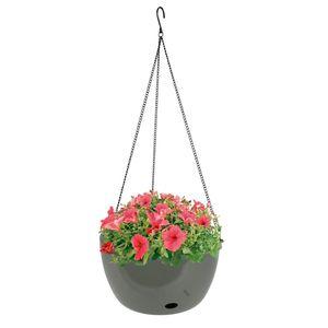 Blumenampel 27,5cm mit Bewässerung Hängeampel Hängetopf Hängeschale Pflanztopf , Farbe:olivgrau