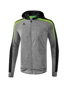 erima Liga 2.0 Trainingsjacke mit Kapuze, Größe:44, Farbe:grau melange/schwarz/green gecko