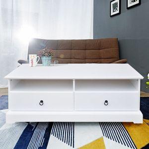 Style home Couchtisch Sofatisch Lowboard Sideboard Mehrzwecktisch im Landhausstil zwei Schubladen MDF Holz Weiss SH68M15046-WIE
