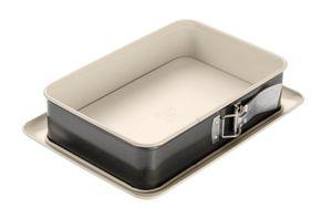 Dr. Oetker Rechteck-Springform 28 cm BACK-TREND, Kuchenform mit Auslaufschutz, eckige Backform aus Stahl mit keramisch verstärkter Antihaft-Beschichtung (Farbe: creme/anthrazit), Menge: 1 Stück
