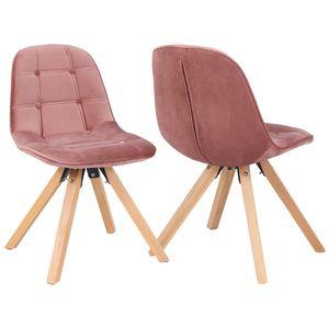 Duhome 2er Set Esszimmerstuhl aus Stoff Samt Polsterstuhl Retro-Design in rosa pink