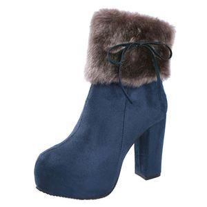 Damen runde Zehe dicker Absatz Baumwollstiefel lässige Mode Stiefeletten,Farbe:Blau,Größe:40