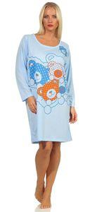Damen Nachthemd Langarm Sleepshirt mit Bär-Muster, Blau M