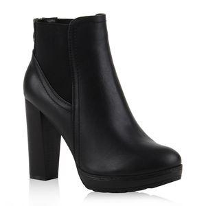 Mytrendshoe Damen Ankle Boots Plateau Stiefeletten Zipper 78971, Farbe: Schwarz, Größe: 38
