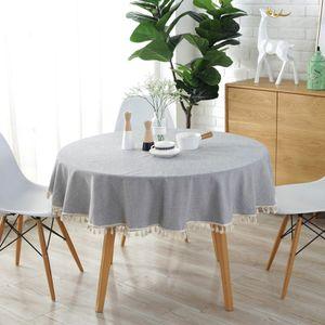 Runde Tischdecke, Tischdecke aus Baumwoll-Leinen mit Quaste für den Esstisch in der Küche