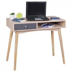 WOHNLING Schreibtisch MASSA 90 x 78 x 45 cm mit Schublade in Sonoma Eiche | Computertisch im modernen Retro Design | Platzsparender Laptop-Tisch für Schüler und Jugendliche
