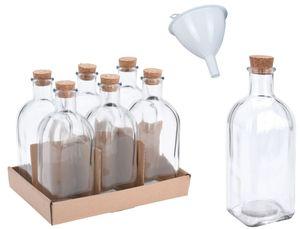 6x Apotheker Glas Flaschen 280ml inkl. Trichter Korkverschluss Korken Oelflaschen Glasflasche Leer