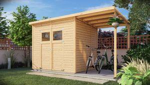 Element-Gartenhaus mit Pultdach inkl. überdachtem Anbau, Fußboden und Dachpappe, Naturbelassen - 14 mm, Nutzfläche: 4,20 m²