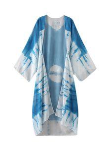 Damen Bikini Cover Up Kimono Sommer Kaftan Bademode Strandmode Langbluse Chiffon,Farbe:Dunkelblau,Größe:XL