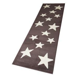Moderner Läufer Teppich Brücke Teppichläufer Sterne Stars verschiedene Farben ca. 80x250 cm, Größe:80x250 cm, Farbe:braun/creme