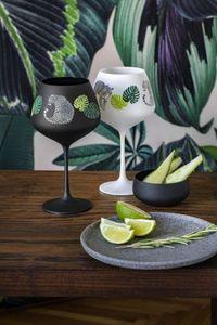 Bohemia Gin & Tonic Jungle Kristallglas 580 ml in schwarz und weiß 2er Set