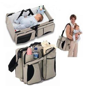 Wickeltasche Pflegetasche Babytasche Handtasche Kinderbett Klappbett Bett Beige