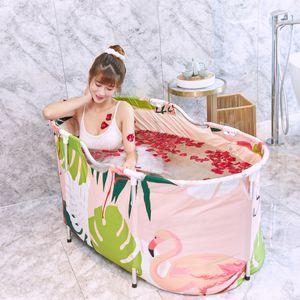Erwachsene Klappbadewanne PVC SPA Faltbare Badewanne Badeeimer Wannenbad 120CM