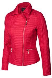Trisens Damen Sommer Steppjacke im Bikerlook Blaser Blousonjacke, Farbe:Rot, Größe:M