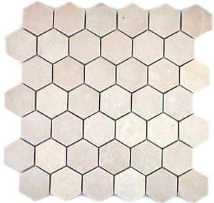 Mosaik Fliese Marmor Naturstein beige Hexagon Marmor Botticino Anticato MOS42-1212