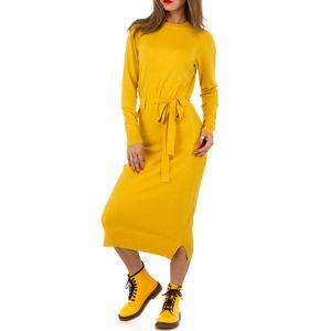 Ital-Design Damen Kleider Strickkleider Gelb