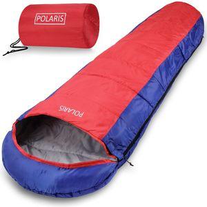 Schlafsack Polaris 210x75cm Mumienschlafsack -7°C Deckenschlafsack Zelt Camping, Farbe:dunkelblau-dunkelrot