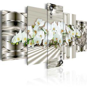 Modernes Wandbild b-A-0221-b-n (100x50) - 5 Teilig Bilder Fotografie auf Vlies Leinwand Foto Bild Dekoration Wand Bilder Kunstdruck ABSTRAKT BLUMEN ORCHIDEE