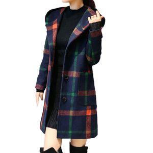 Damenmode Langarm Kapuze Knopfleiste Jacke Wollmantel mit Tasche Größe:M,Farbe:Grün