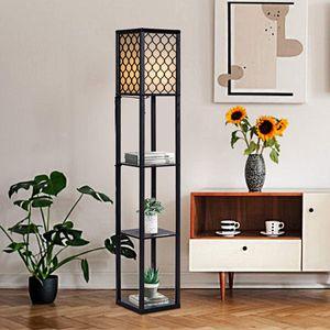 GOPLUS 3-Regal Stehleuchte, Stehlampe mit 3 Regalablagen, Standlampe Standleuchte Modern und Elegant mit Schalter, Innenbeleuchtung Lagerung Beleuchtung für Wohnzimmer Schlafzimmer (Modell 2)