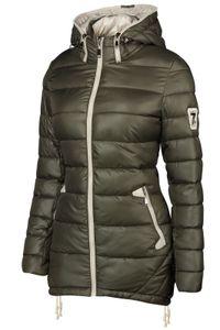 Damen Stepp Winter Mantel Übergangsmantel Lang Jacke Parka, Farbe:Army Grün, Größe:XXL
