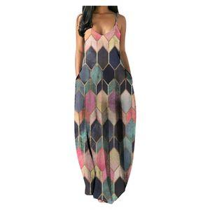Mode Frauen Casual Plus Size Print V-Ausschnitt Taschen Kurzarm Langes Kleid Größe:XL,Farbe:Bunt