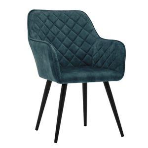 Esszimmerstuhl Polsterstuhl Armstuhl Samt Blau Vintage Design Sessel Metallbeine