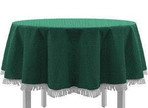 Gartentischdecke mit Fransen Tischdecke rund oval eckig Classic 130 cm rund grün