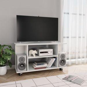 tongqiu TV-Tisch TV-Schrank mit Rollen Hochglanz-Weiß 80×40×40 cm Spanplatte