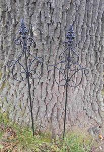2 Stück Rankstäbe Rankhilfe verzierte Spitze Eisen schwarz 70 cm