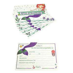 Oblique Unique 6 Meerjungfrau Einladungskarten Kindergeburtstag Mädchen Meerjungfrauen Party Mermaid Einladungen