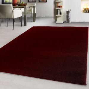 Teppich Modern design Teppich einfarbig kurzflor Teppich uni color meliert Rot, Farbe:ROT,200 cm x 290 cm