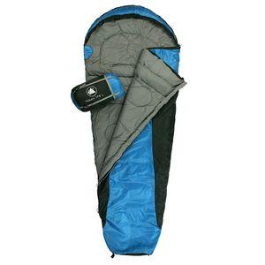 10T Yukon 175L - Einzel Mumien-Schlafsack 205x75/45 cm schwarz/blau Trekking nur 1400g bis -5°C
