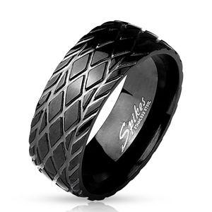 viva-adorno Gr. 64 (20,3 mm Ø) Edelstahl Ring matt Schwarz gebürstet mit Reifenprofil RS56,schwarz diagonal,