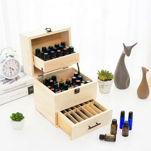 3 Schichten Flaschen Aufbewahrungsbox Modern Holz Ätherisches Öl Flaschen Organizer 59 Fächer Display Ständer Rack Parfüm Kosmetik Aufbewahrung Flaschenhalter Case